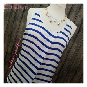 Caslon Pleated Striped Tank, Blue/White, Large